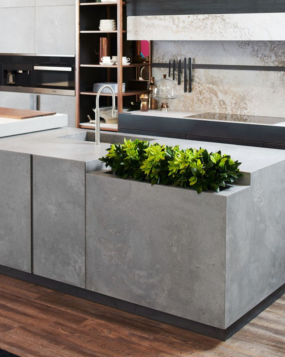 Modern kitchen updates using efficient concrete benchtops to show sturdier interior display Image 39
