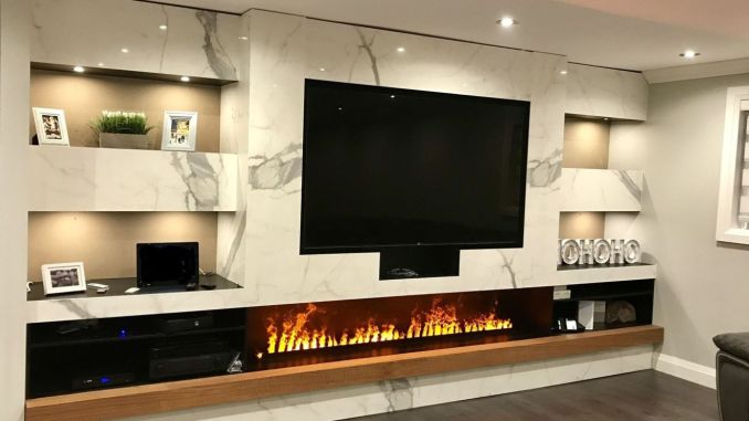 Modern living room with electric fireplace enclosed under TV wall Image 35