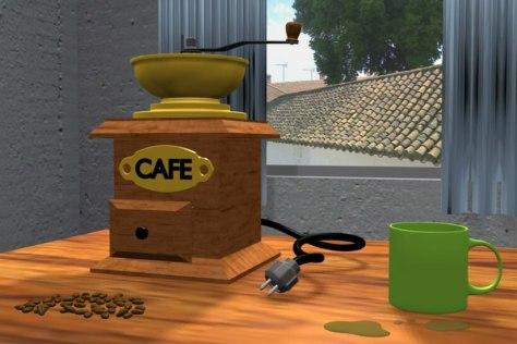Modelado y texturizado de una escena - Molinillo de café