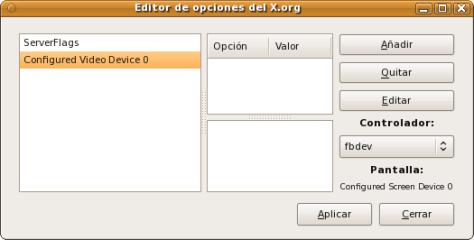 Editor de opciones del X.org
