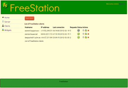 FreeStation Server GUI - List of clients