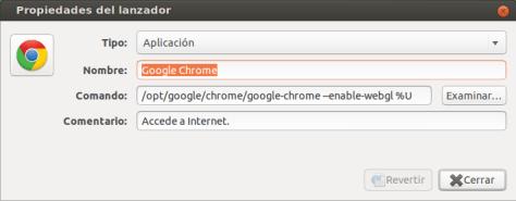 Propiedades del Lanzador Google Chrome