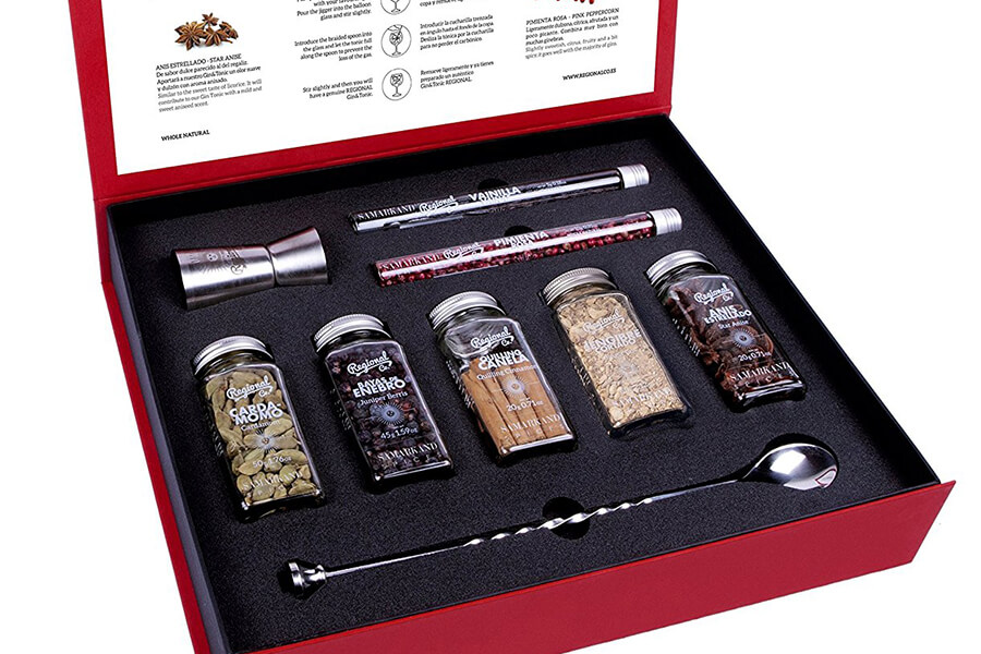 Gin and Tonic Premium Gift Set of Cocktail Botanicals and Spices with Spoon & Dispenser