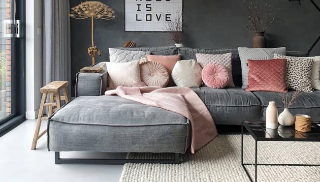 une deco en rose et gris dans le salon