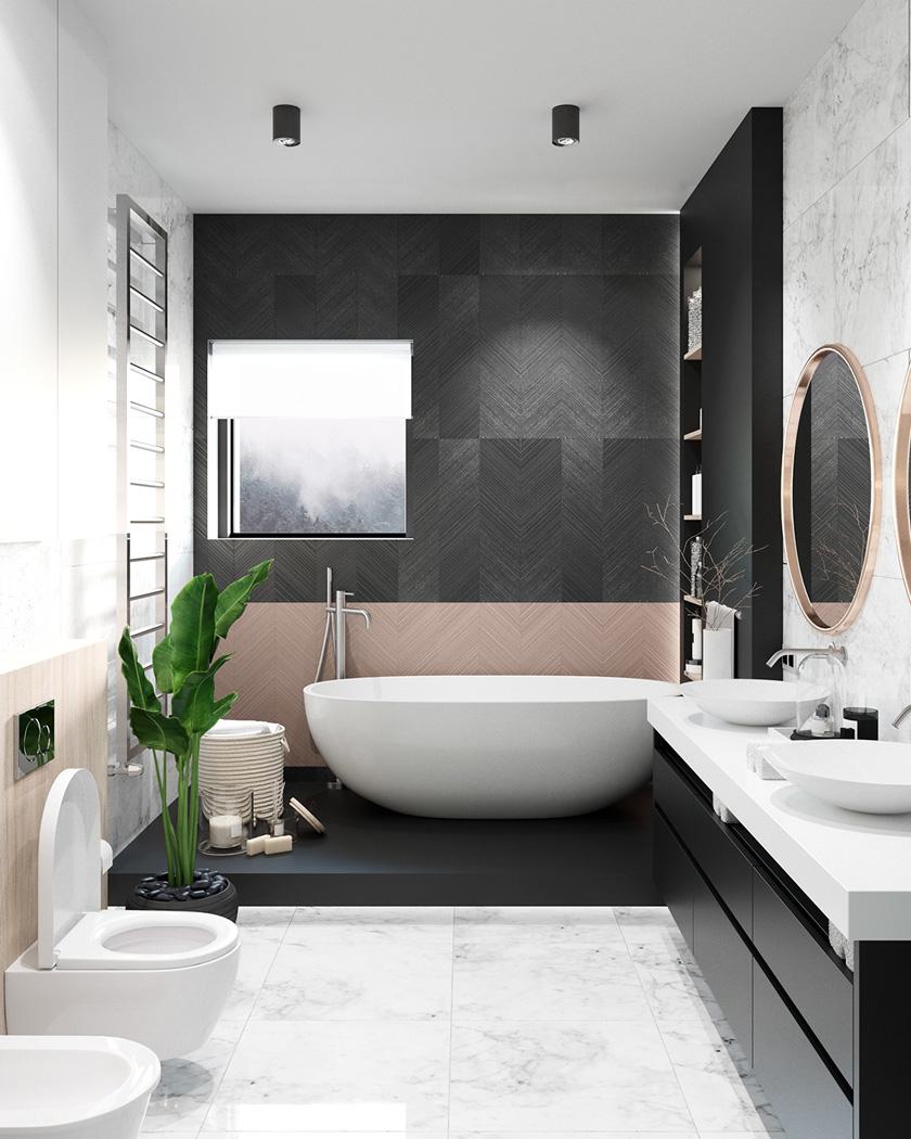 decoration salle de bain moderne noir