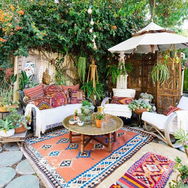 deco bohème terrasse colorée