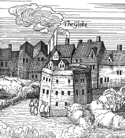 A stylized representation of the Globe theater