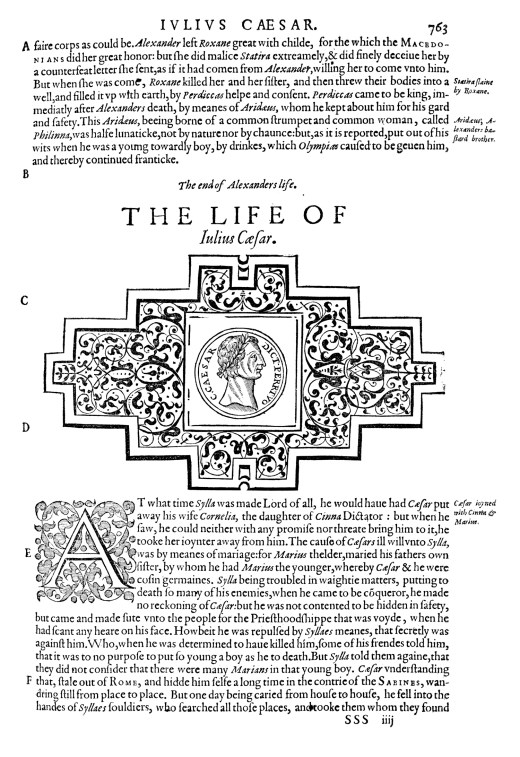 """The Life of Julius Caesar."" From Plutarch, Lives of the Noble ... (1579)."