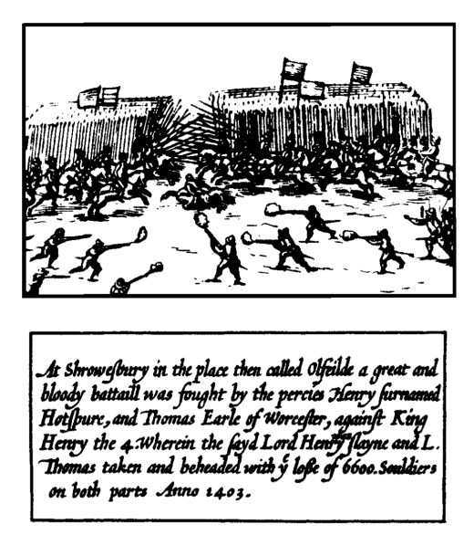 The battle of Shrewsbury. From John Speed, A prospect of the most famous part of the world (1631).