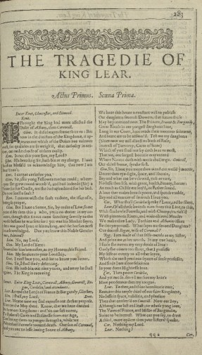 First page of King Lear from the 1623 First Folio