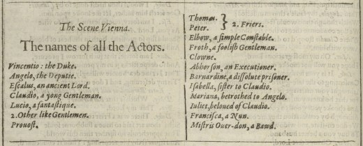 The names of all the Actors. From the 1623 First Folio.