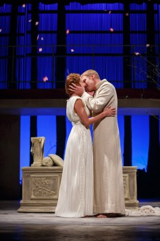 Reunited at last, King Leontes (Grant Goodman) embraces his resurrected Queen (Shanara Gabrielle) in the Notre Dame Shakespeare Festival's 2015 production of The Winter's Tale.
