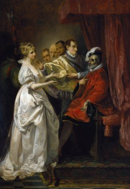 Francis Wheatley. Helena and Count Bertram before the King of France. Oil on canvas, 1793
