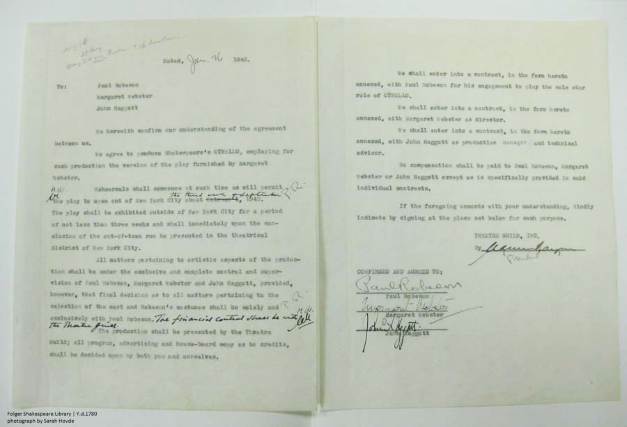 "Robeson's contract for his 1943 production of ""Othello."""