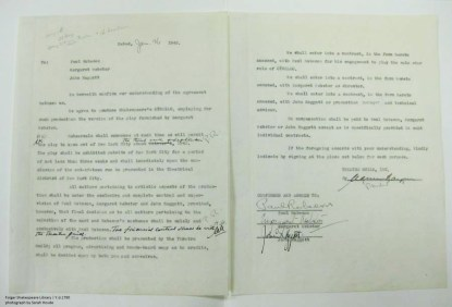 """Robeson's contract for his 1943 production of """"Othello."""""""