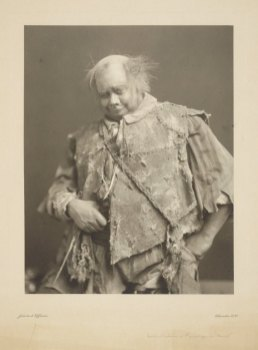 Rowland Buckstone in costume as the gravedigger in Hamlet. Photograph, London, late 19th or early 20th century. Folger Shakespeare Library.