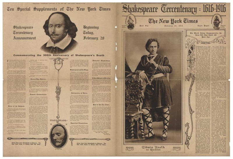 "New York Times, Shakespeare Tercentenary, Feb. 20, 1916. Part of the ""America's Shakespeare"" exhibition at the Folger Shakespeare Library."