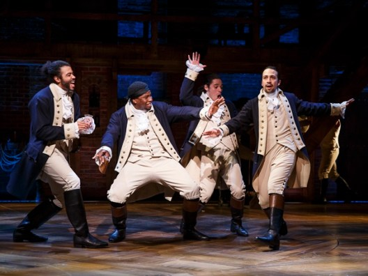 "Daveed Diggs as Marquis de Lafayette, Okieriete Onaodowan as Hercules Mulligan, Anthony Ramos as John Laurens and Lin-Manuel Miranda as Alexander Hamilton in ""Hamilton."""