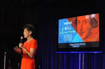 Jane Chu at The Wonder of Will Live, April 23, 2016. Photo by Lloyd Wolf.