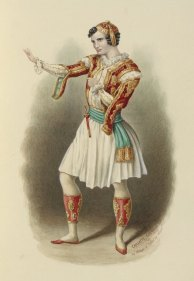 """Charlotte Cushman as """"Viola"""" in """"Twelfth Night."""" Watercolor, 1893. Folger Shakespeare Library."""