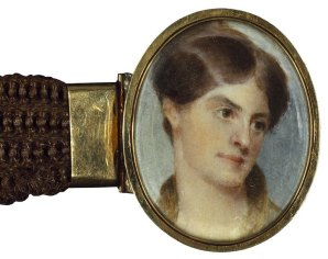 """Charlotte Cushman. The case is engraved """"Charlotte Cushman from Rosalie / July 23rd, 1844 [Charlotte's birthday]."""" Watercolor on ivory, """"mounted in [rose] gold, as a bracelet, of Fanny Kemble's hair."""" Folger Shakespaere LIbrary"""