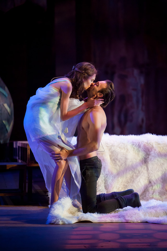 Carolyn Holding (Cressida) and Christopher Joel Onken (Troilus) in Troilus and Cressida, 2016, Colorado Shakespeare Festival. Photo by Jennifer M. Koskinen