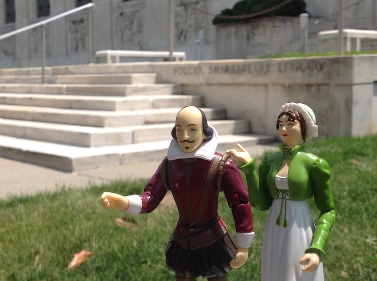 Action figures on front Folger lawn