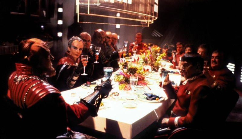 Shakespeare in the original Klingon. Star Trek VI: The Undiscovered Country (1991) Directed by Nicholas Meyer Shown from left: David Warner (as Chancellor Gorkon), Christopher Plummer (as General Chang), William Shatner (as Captain James T. Kirk), Walter Koenig, Leonard Nimoy (as Captain Spock), Nichelle Nichols, DeForest Kelley, James Doohan
