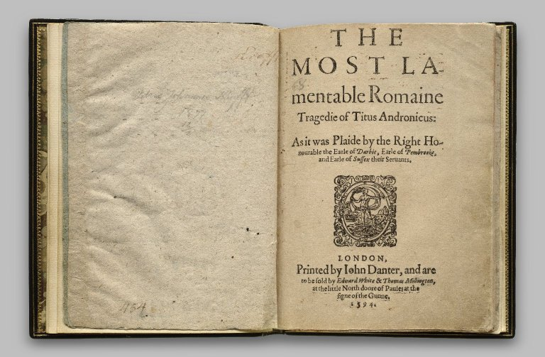 William Shakespeare. Quarto of Titus Andronicus. 1594. Folger Shakespeare Library.