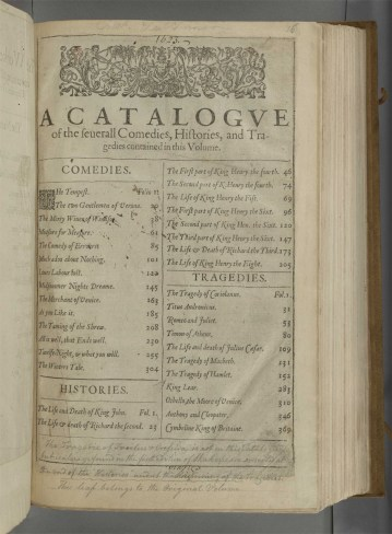 Catalogue page in the First Folio