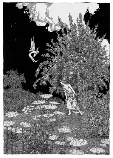 Demetrius chases Puck. Shakespeare illustration by W. Heath Robinson