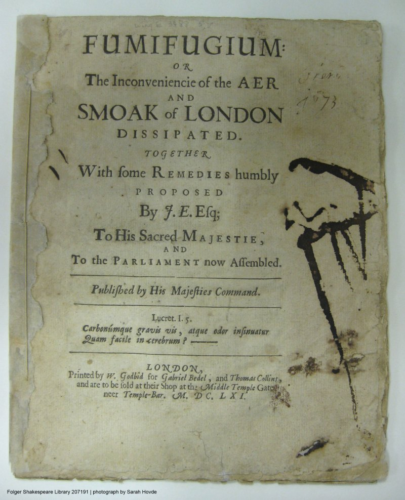 Fumifugium title page - a treatise about air pollution in London