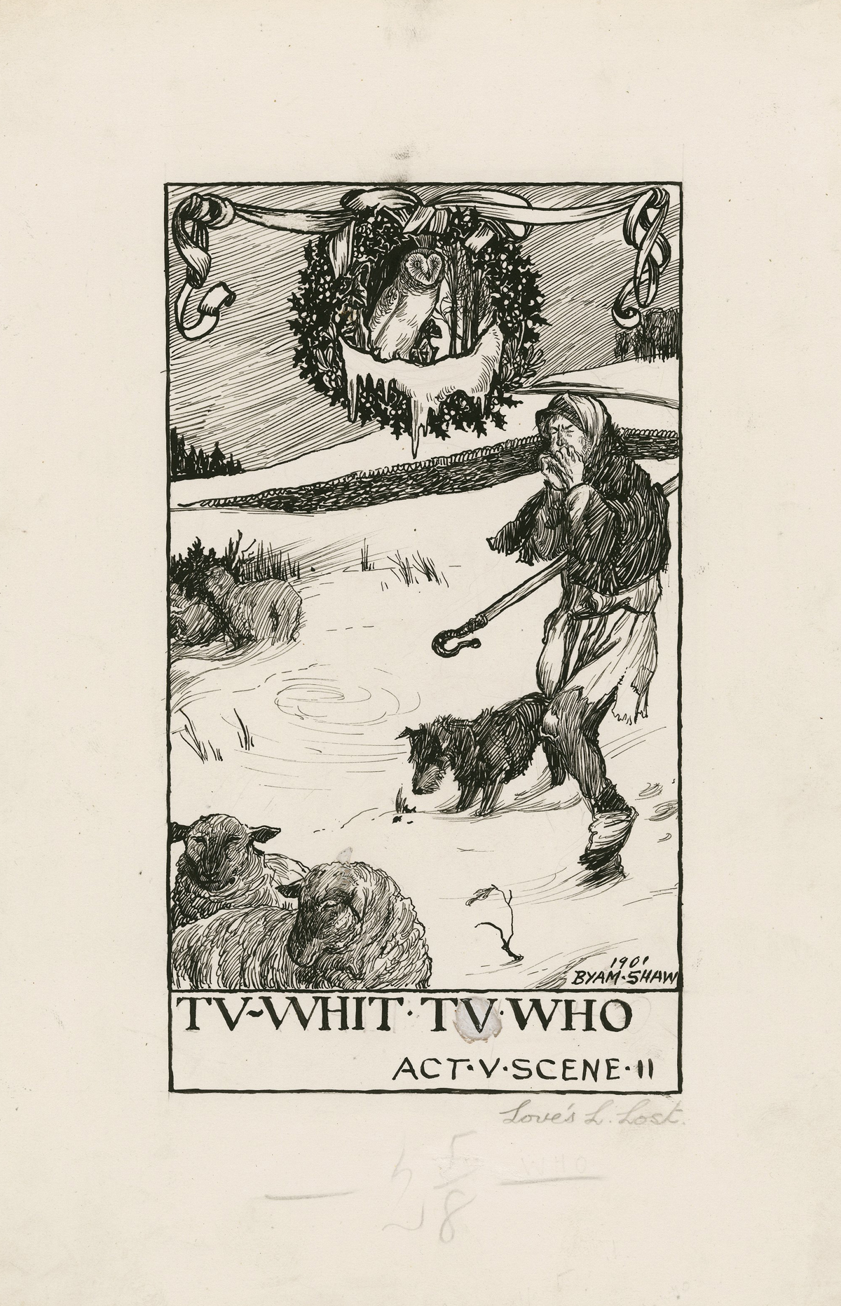 """Ink illustration of the song """"Winter"""" from 'Love's Labor's Lost' by Byam Shaw."""