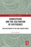 "Cover of Patricia Akhimie's ""Shakespeare and the Cultivation of Difference: Race Conduct and the Early Modern World"""