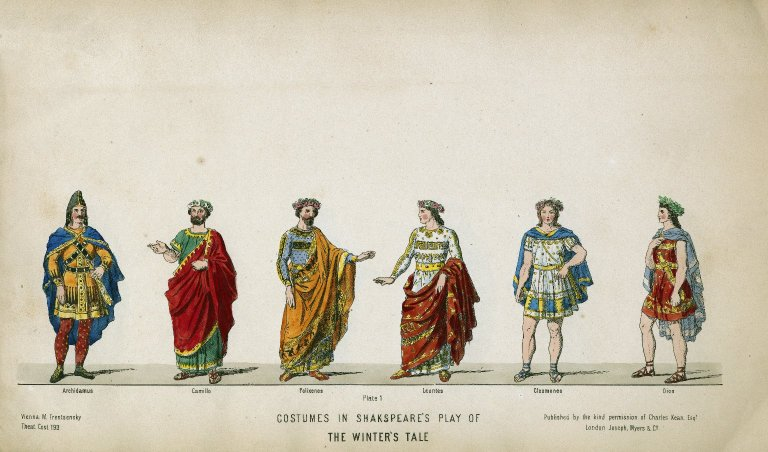 Costume illustrations from Charles Kean's 1856 production of The Winter's Tale