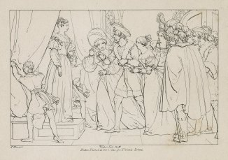 """An engraved illustration of the statue scene from SHakespeare's """"The Winter's Tale,"""" by Frank Howard."""