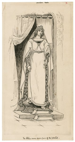 """Pen and ink drawing of Hermione's descent from her pedestal in """"The Winter's Tale,"""" by Louis Rhead"""
