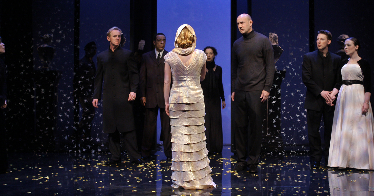 """Photograph of the statue scene from Folger Theatre's 2009 production of """"The Winter's Tale."""""""