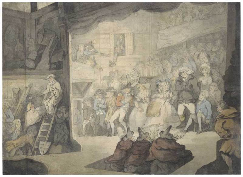 The witches in a performance of Macbeth