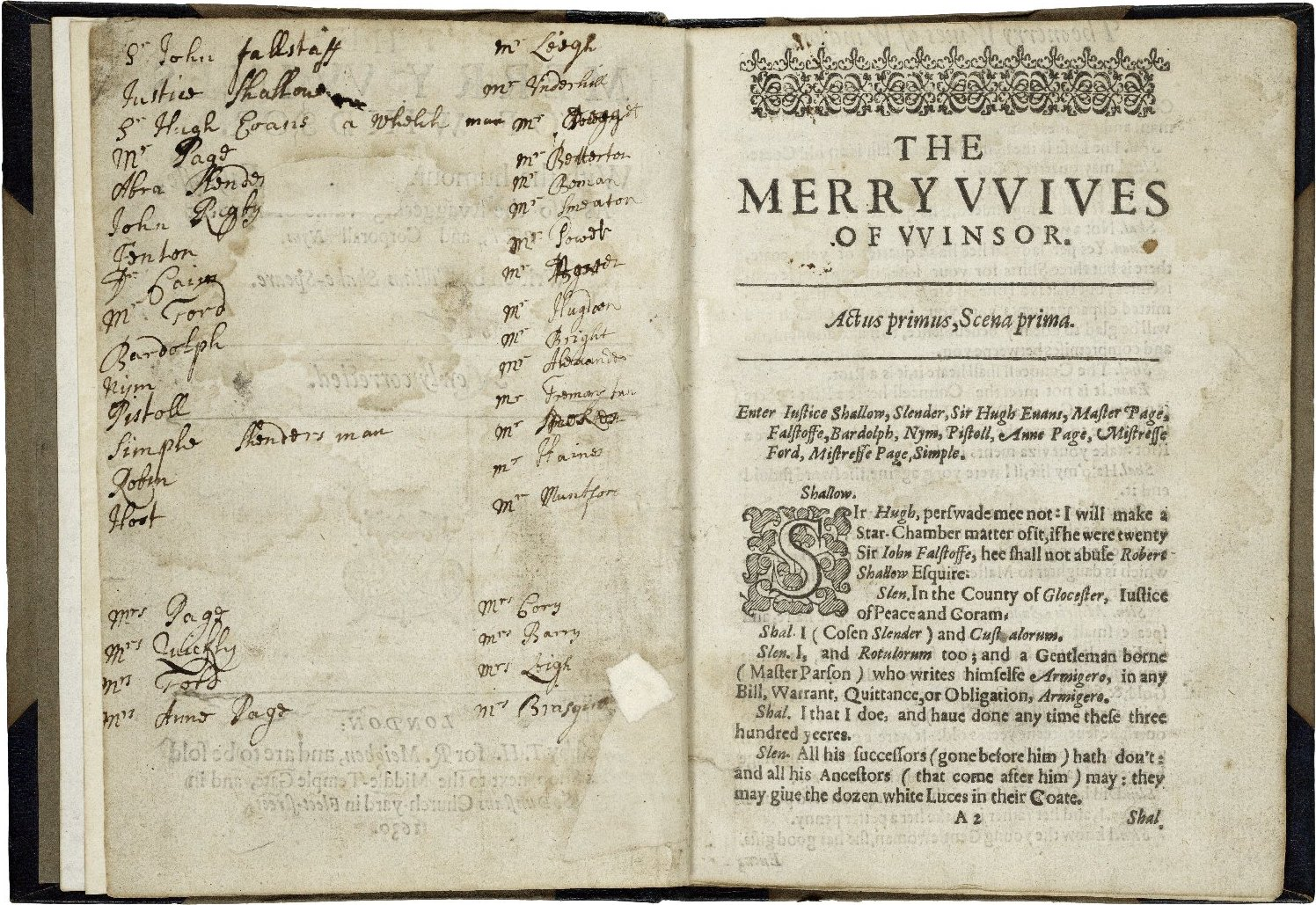 Merry Wives of Windsor. 1630. Folger Shakespeare Library.
