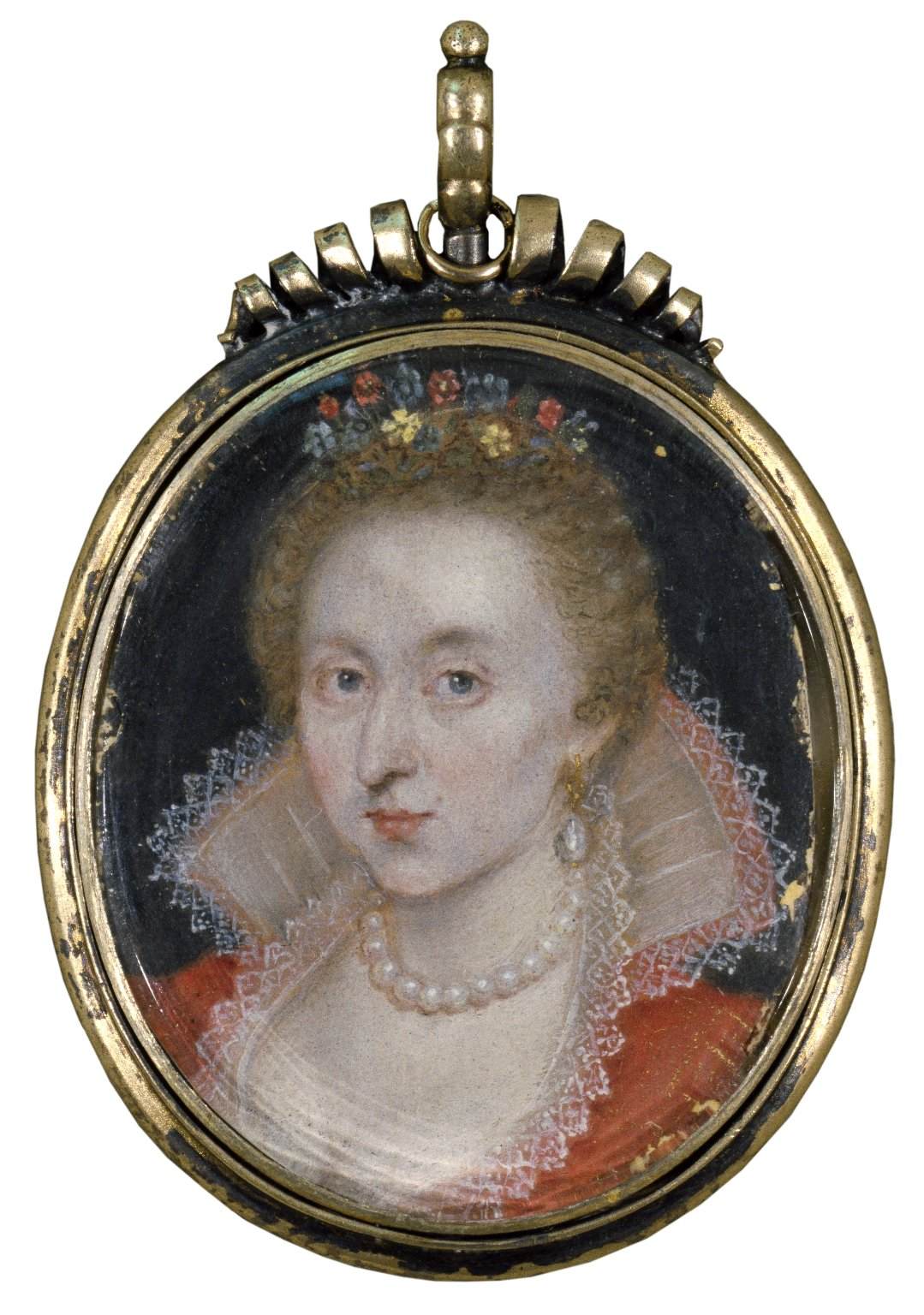 Anne of Denmark. Miniature, circa 1620? Folger Shakespeare Library.