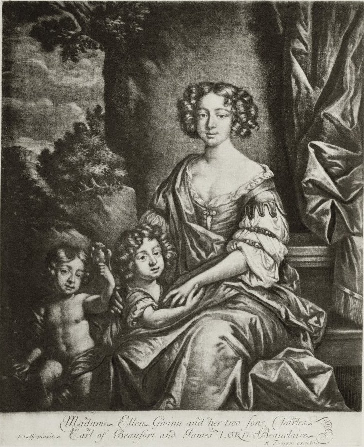 Nell Gwyn. Print, by R. Tomson after Peter Lely, from Cunningham, The story of Nell Gwyn. 1883. Folger Shakespeare Library.