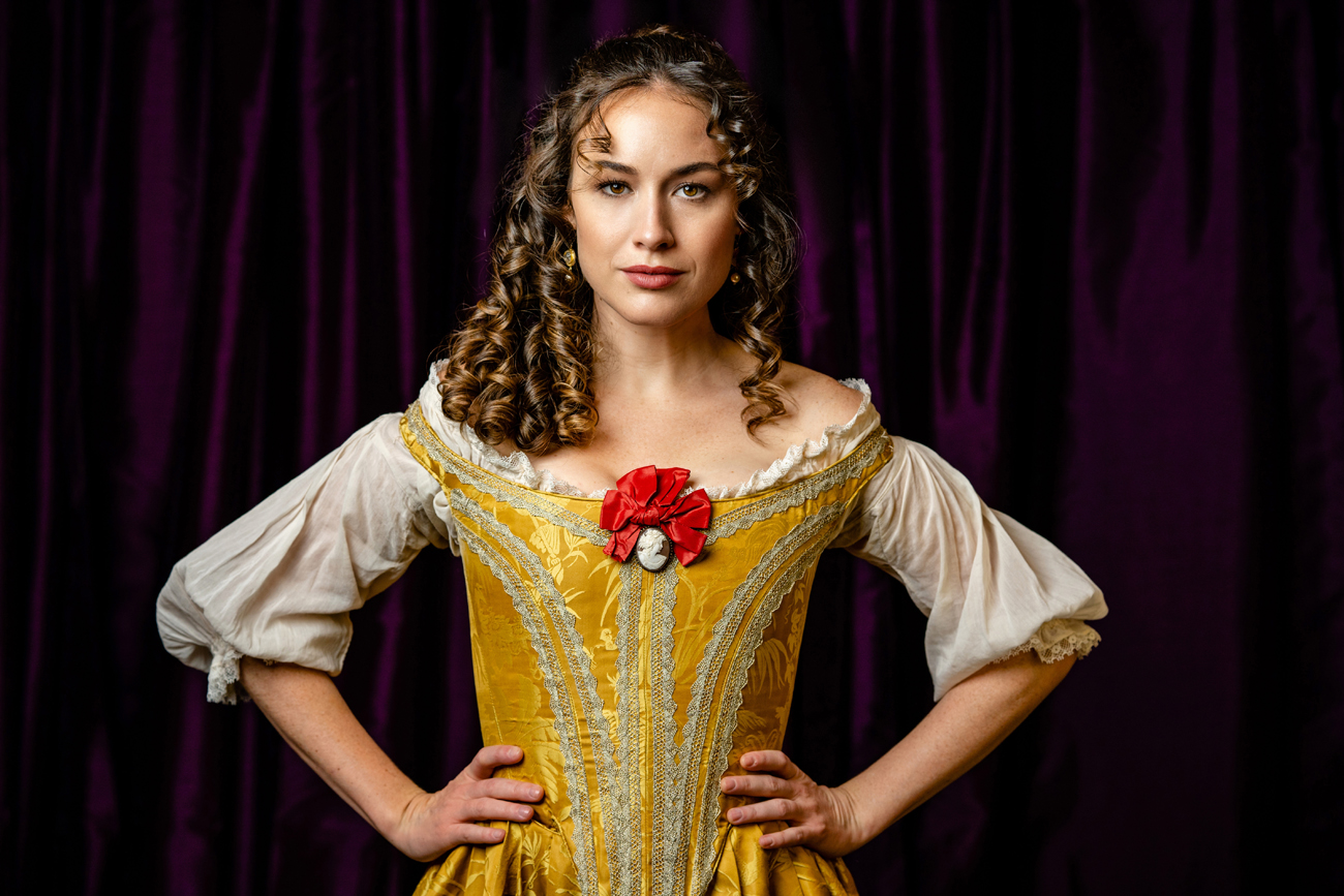 "Alison Luff as Nell in ""Nell Gwynn,"" Folger Theater. Photo by Brittany Diliberto."
