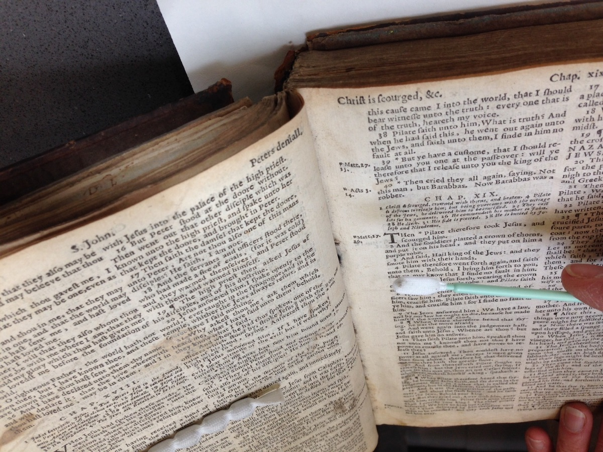 Sample of book dust being removed from 17th-century Bible. Folger Shakespeare Library.