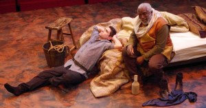 """Seamus Miller as Prince Hal with Gregory Burgess as Sir John Falstaff in """"Henry IV, Part 1,"""" Chesapeake Shakespeare Company. Photo by Brandon W. Vernon."""