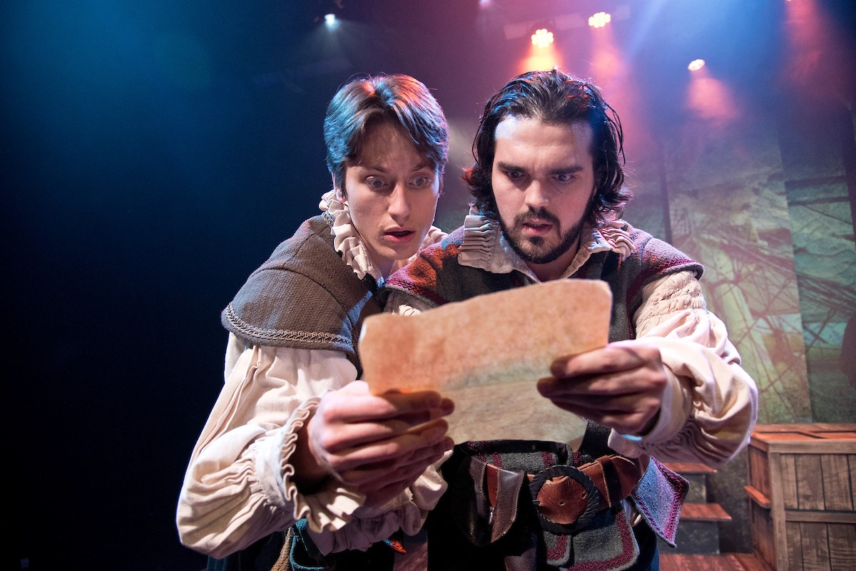 Clay Vanderbeek (Rosencrantz) and Nate Ruleaux (Guildenstern) in Annapolis Shakespeare Company's 2019 production of Rosencrantz and Guildenstern Are Dead directed by Donald Hicken. Photo by Joshua McKerrow.