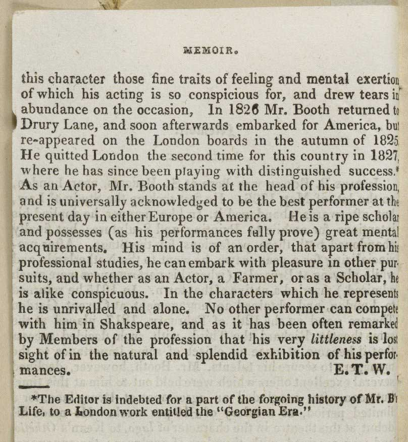 Newspaper article about Junius Brutus Booth