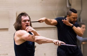 """Stephen Michael Spencer and Jordan Barbour, In rehearsals for """"Julius Caesar"""" at Theatre for a New Audience."""