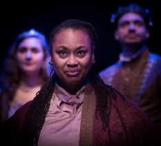 "Olivia Dawson as Chorus, Chloe Kay as Katherine, Jonathan Horne as Henry. ""Henry V"" at Atlanta Shakespeare Company. Photo: Jeffrey Watkins."