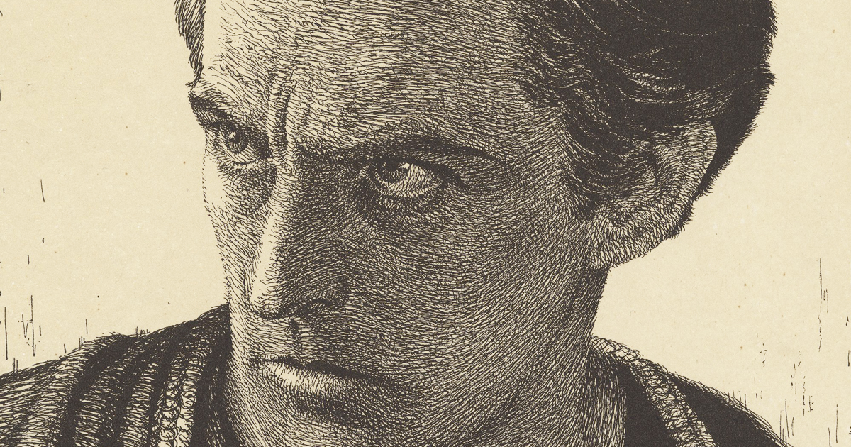Engraving of a drawing by Bert Sharkey. of John Barrymore as Hamlet